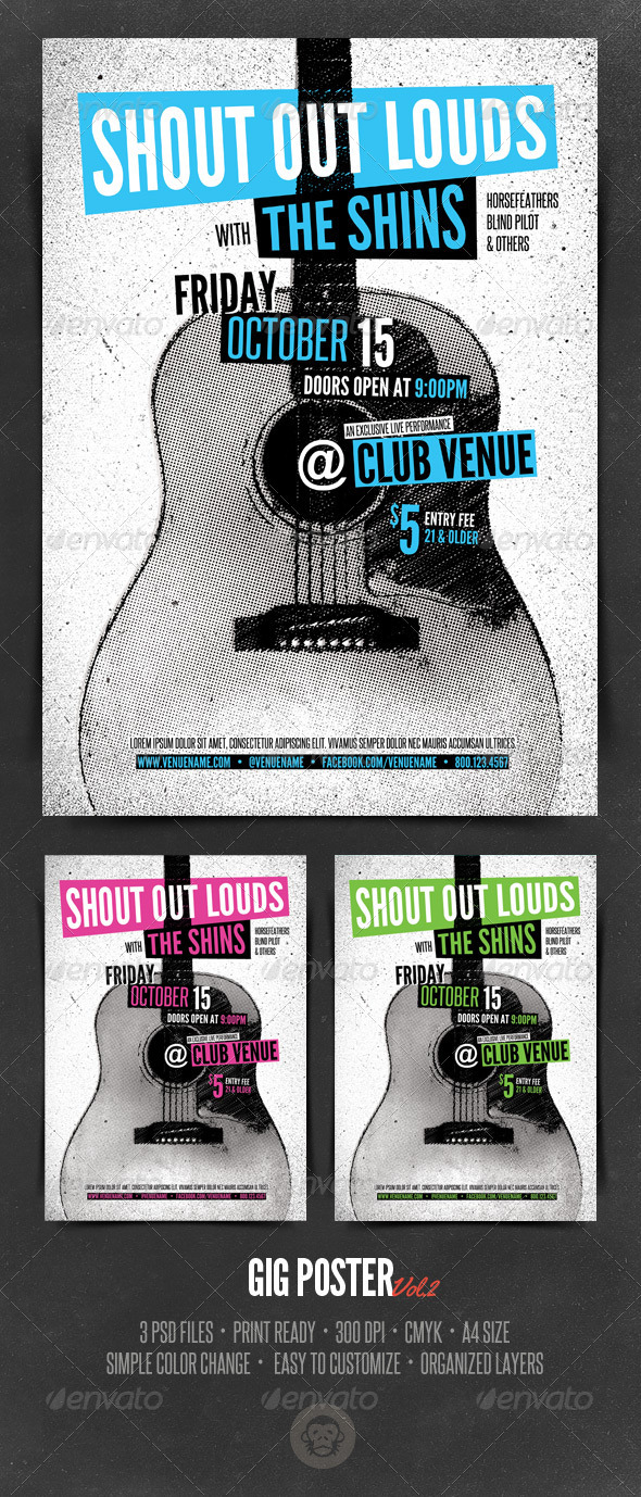 Gig Poster Template - Vol2 - Concerts Events