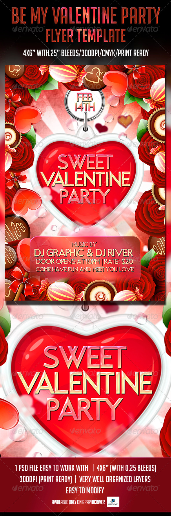 Sweet Valentine Party Flyer Template - Flyers Print Templates