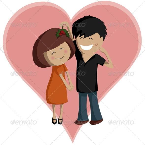 Mistletoe Couple - Valentines Seasons/Holidays