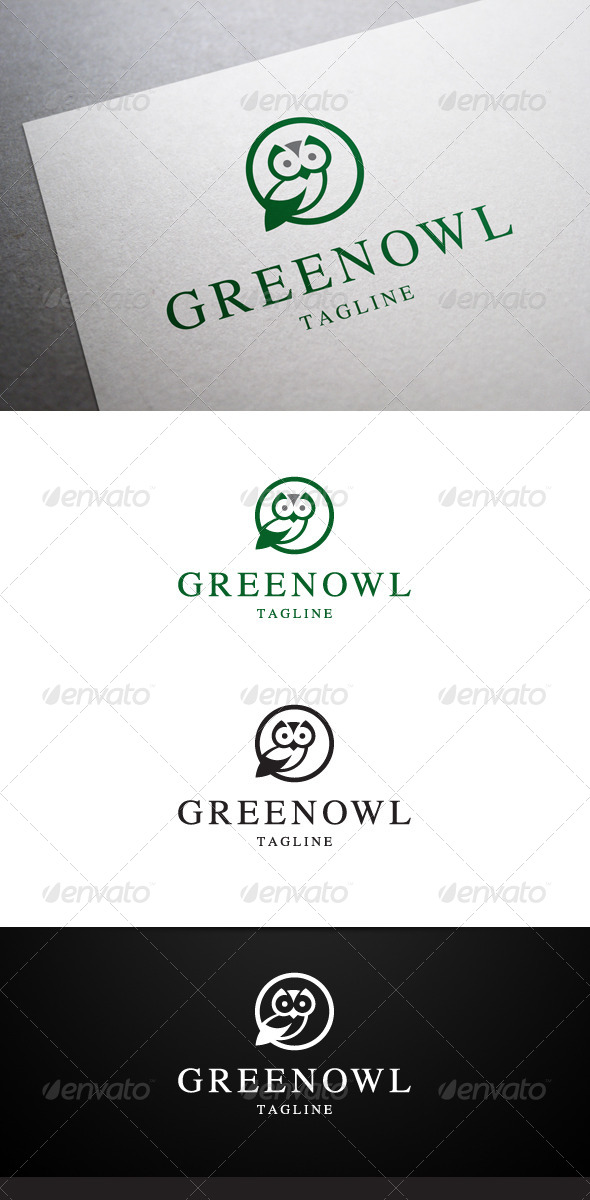Green Owl Logo - Animals Logo Templates