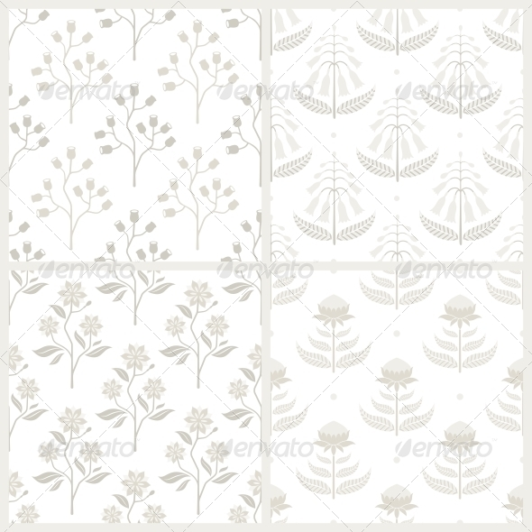 Set of Seamless Patterns with Australian Floral - Patterns Decorative