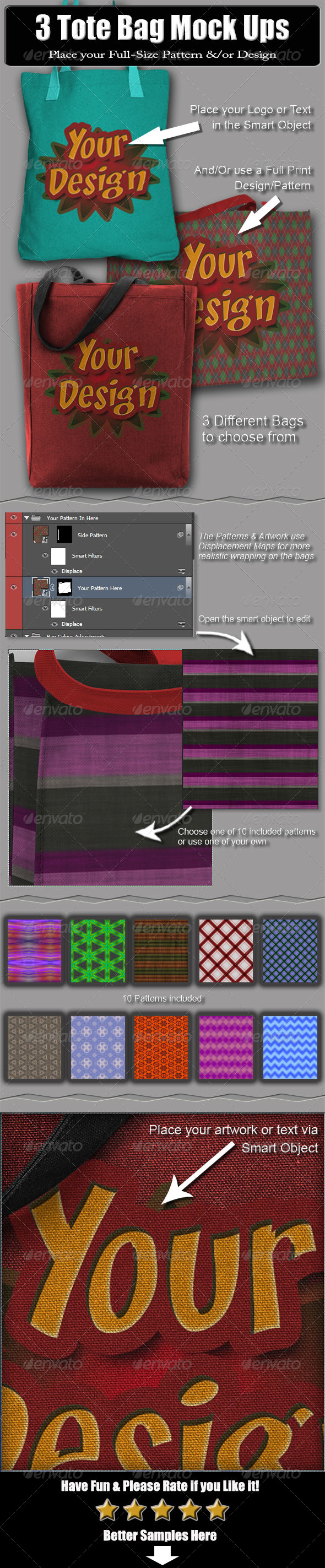 3 Tote Bag Mock Ups - Miscellaneous Apparel