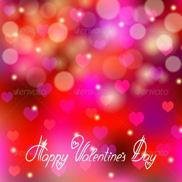 Festive Background with Hearts, Bokeh - Valentines Seasons/Holidays