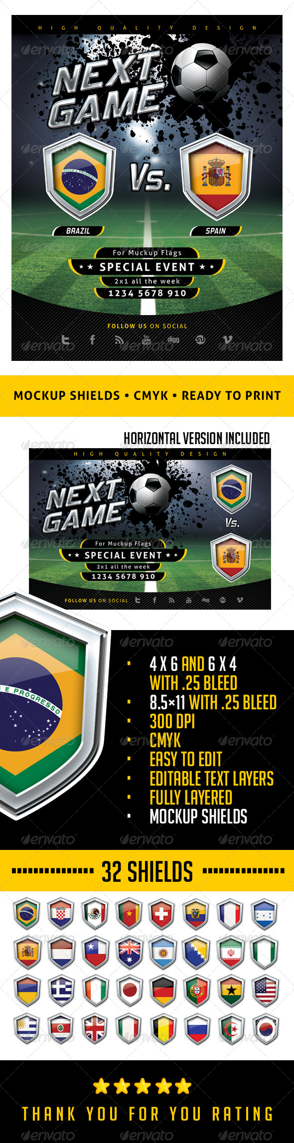 Flyer Soccer Template with Mockup Shields - Sports Events