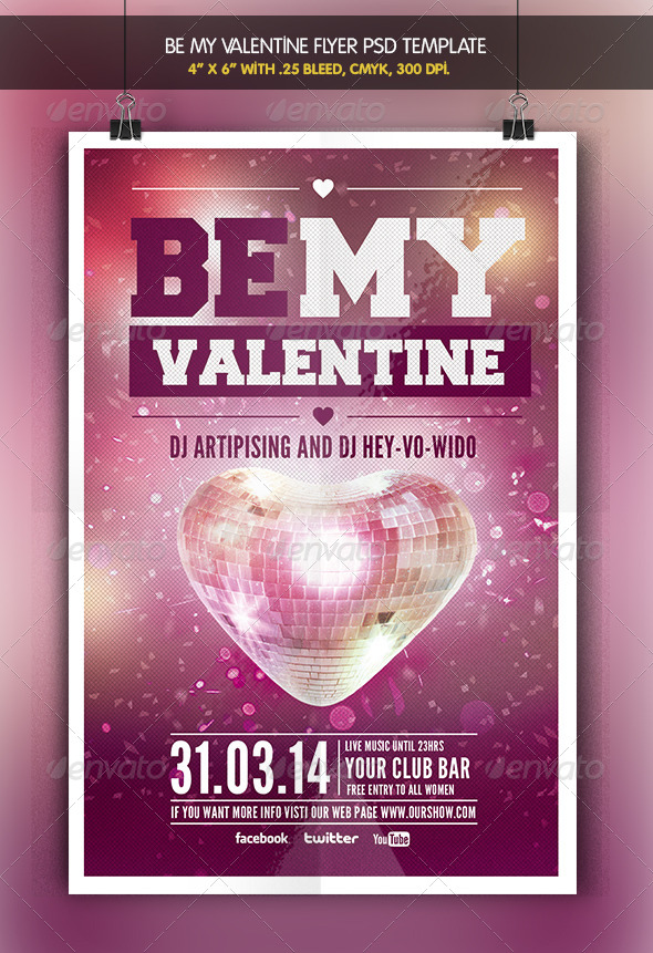 Be my Valentine | Party Flyer Template - Clubs & Parties Events