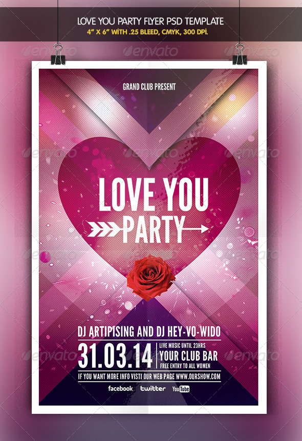Love You | Valentine Party Flyer - Clubs & Parties Events