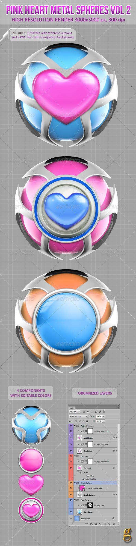3D Pink Heart Metal Spheres Vol 2 - Abstract 3D Renders