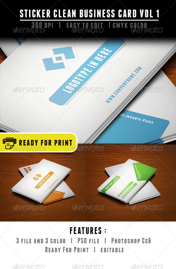Sticker Clean Business Card - Corporate Business Cards