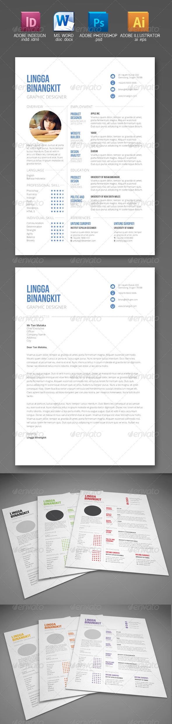 Sewon Clean Resume Template Volume 6 - Resumes Stationery