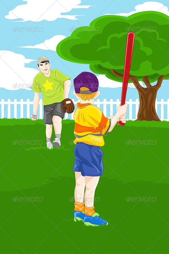 Father Son Playing Baseball - Sports/Activity Conceptual