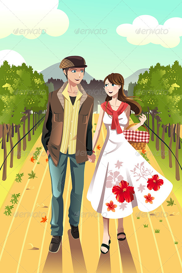Couple Walking in a Winery - People Characters