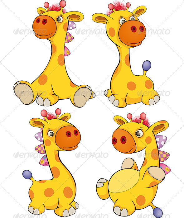 Set of Toy Giraffes Cartoon - Animals Characters