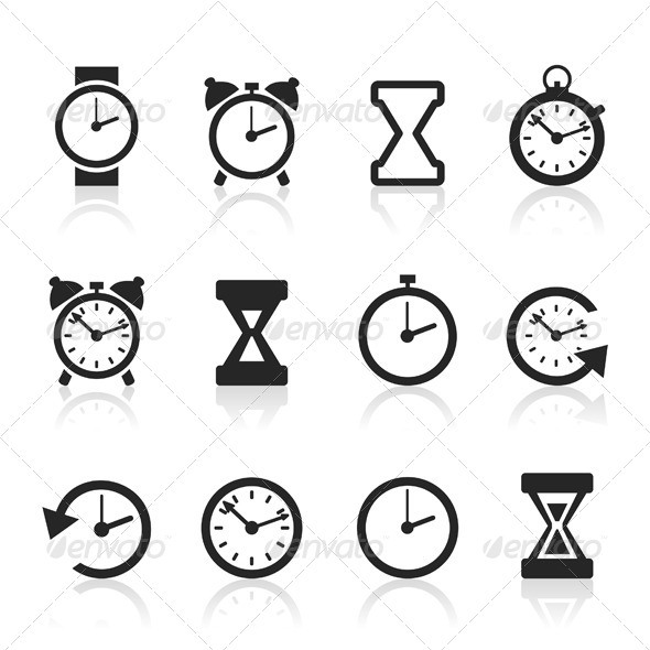 Clock and Time Icons - Miscellaneous Vectors