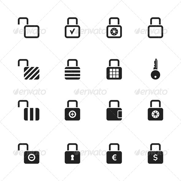 Lock Icons - Man-made Objects Objects