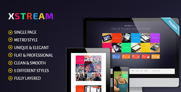XTREAM - Metro Style Single Page PSD Theme