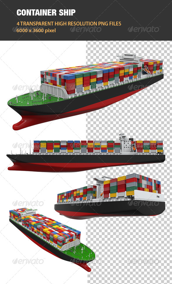 3D Cargo Container Ship - Objects 3D Renders