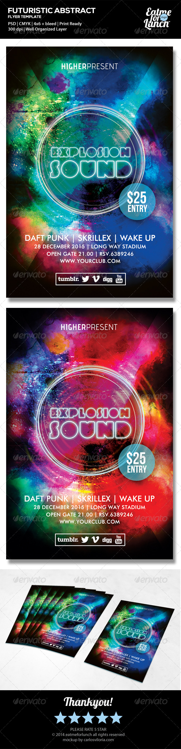 Futuristic Dance/Club Music Flyer Templates - Clubs & Parties Events