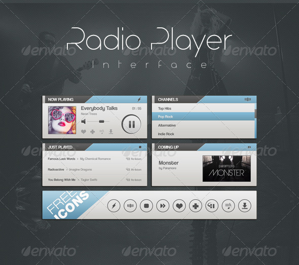 Radio Player Interface - User Interfaces Web Elements