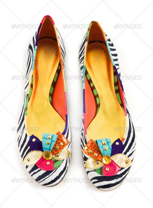 Zebra pattern ornated ballerinas - Stock Photo - Images