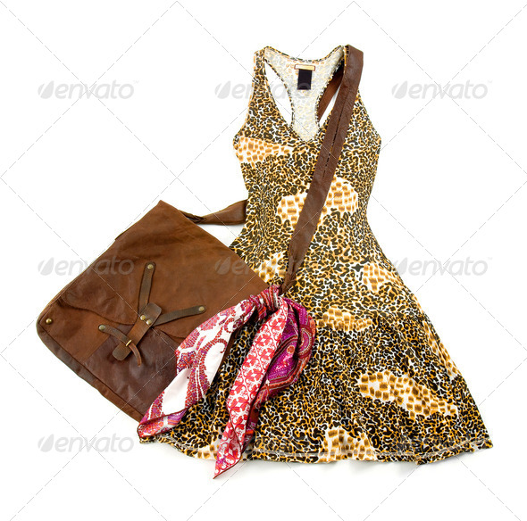 Leopard pattern tank dress still life fashion composition - Stock Photo - Images