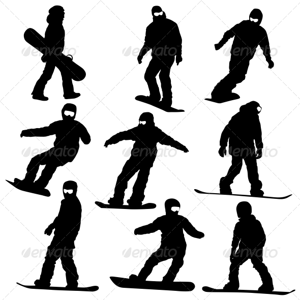 Snowboard Silhouette Set - Sports/Activity Conceptual