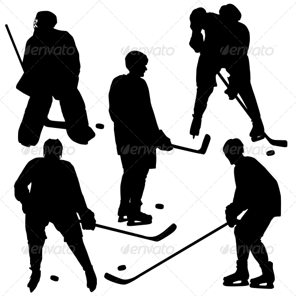 Set of Silhouettes of Hockey Player - Vector   - Sports/Activity Conceptual