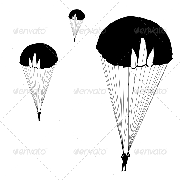 Jumper, Black and White Silhouettes - Vector - Sports/Activity Conceptual