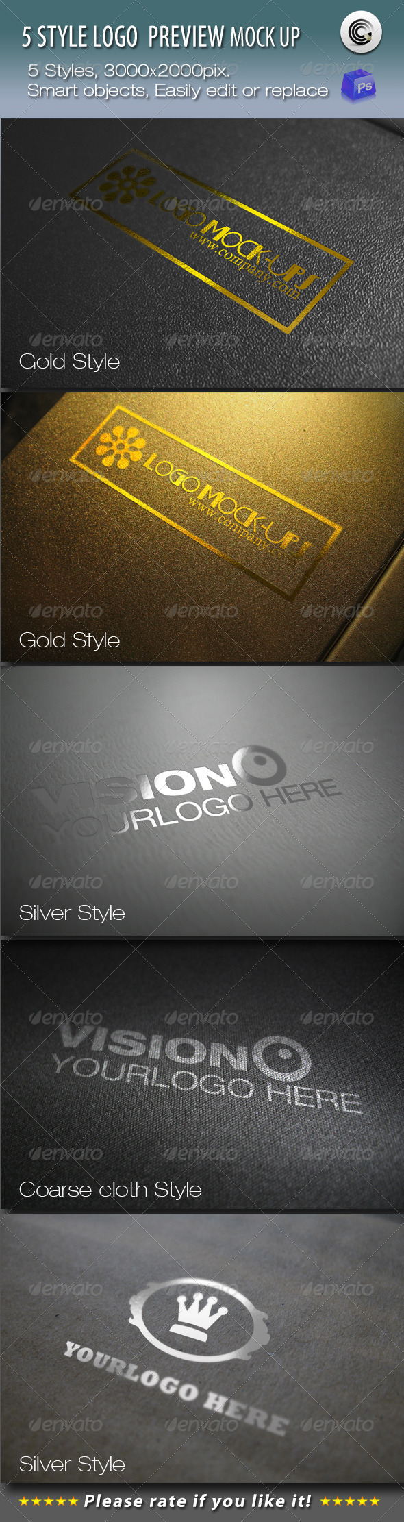5 Styles Logo Preview Mock-ups - Logo Product Mock-Ups