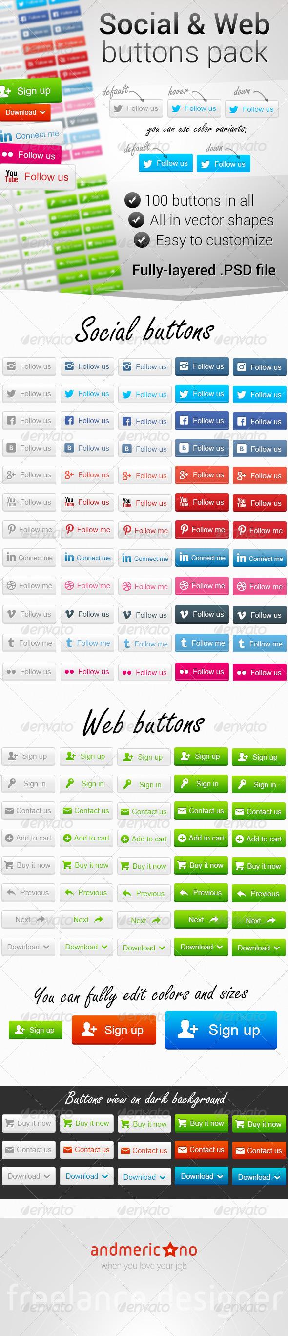 100 Social & Web Buttons - Buttons Web Elements