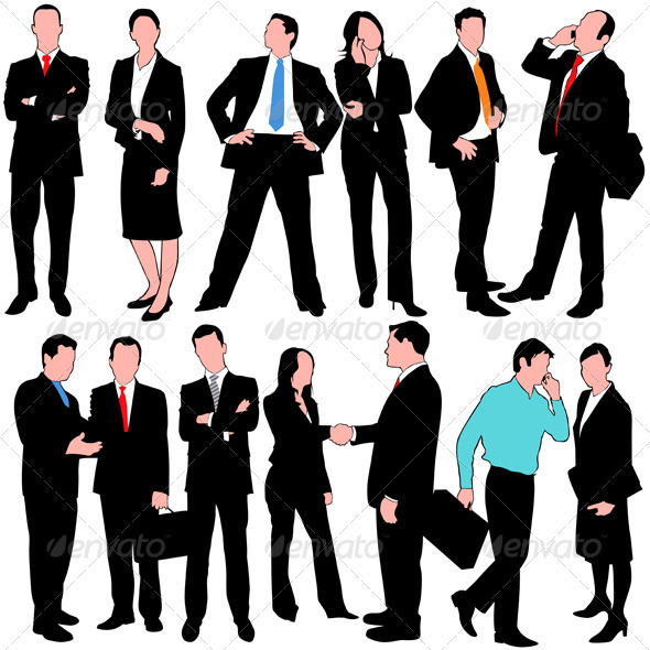 13 Business People Silhouettes Set - Business Conceptual