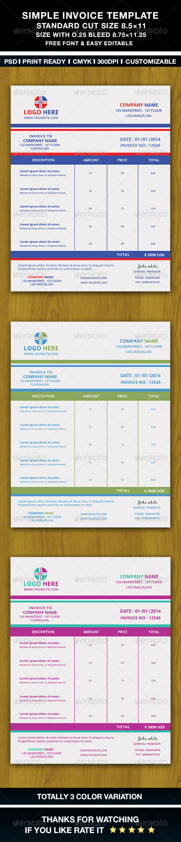 Simple Invoice Template - Proposals & Invoices Stationery