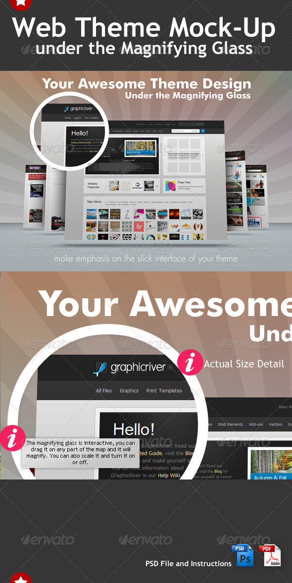 Web Theme Under the Magnifying Glass Mock-Up - Website Displays
