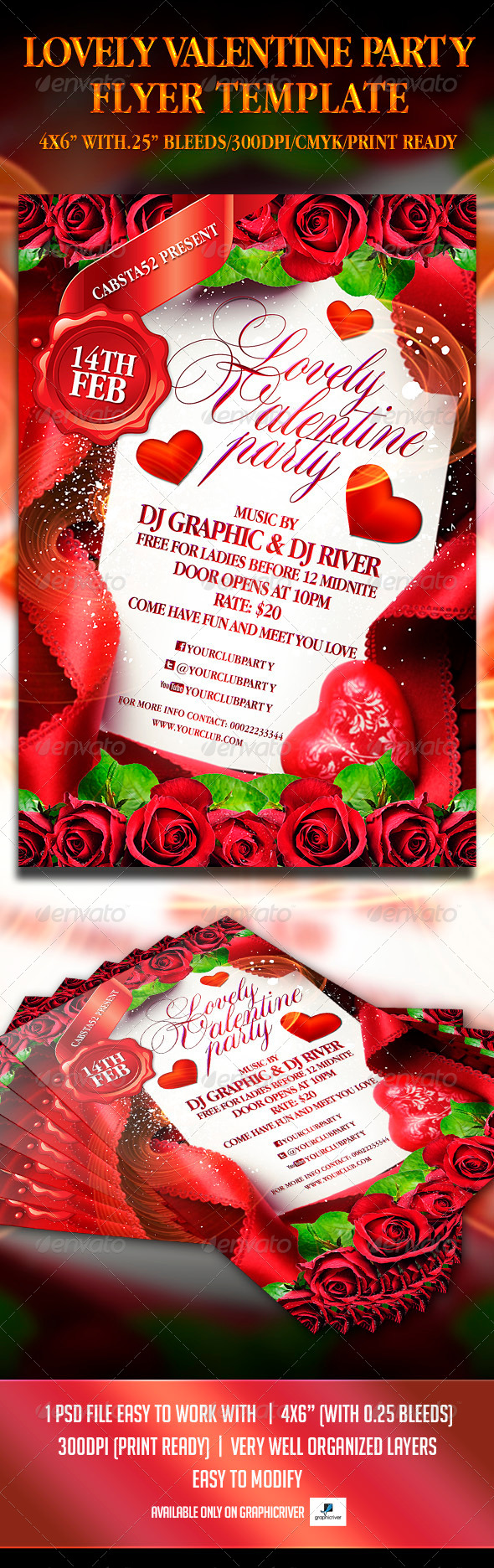 Lovely Valentine Party Flyer Template - Events Flyers
