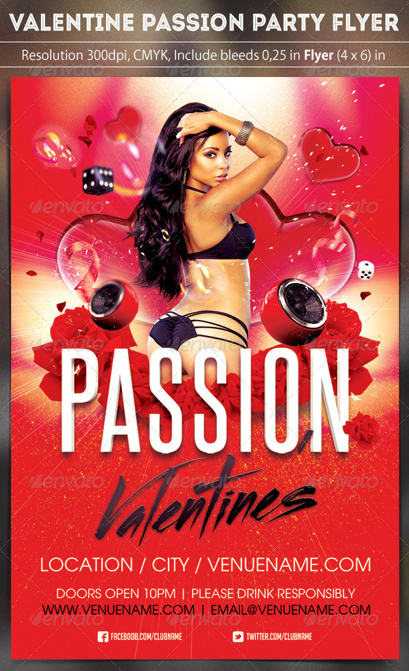 Valentine Passion Party Flyer   Clubs U0026 Parties Events