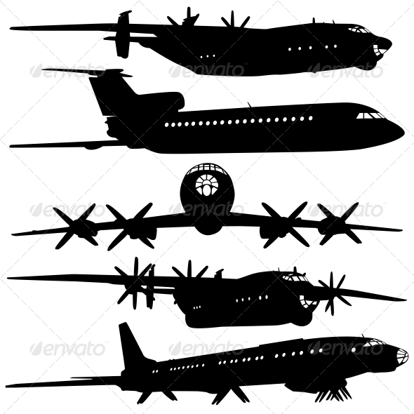 Collection of Different Airplane Silhouettes - Web Elements Vectors