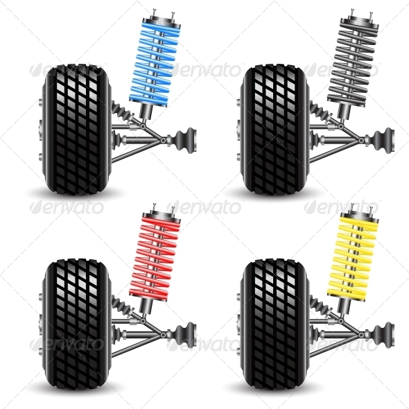 Set Car Suspension, Frontal View - Man-made Objects Objects