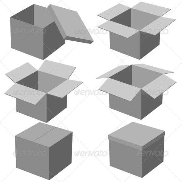 Six Boxes, Isolated on White Background - Man-made Objects Objects