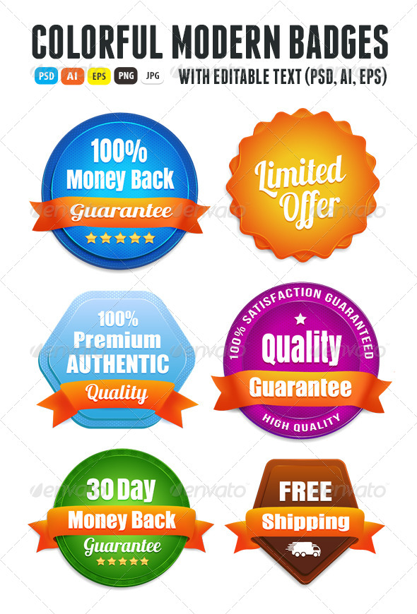 Modern Quality Guarantee Badges - Badges & Stickers Web Elements