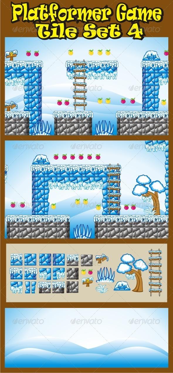 Platformer Game Tile Set 4 - Tilesets Game Assets