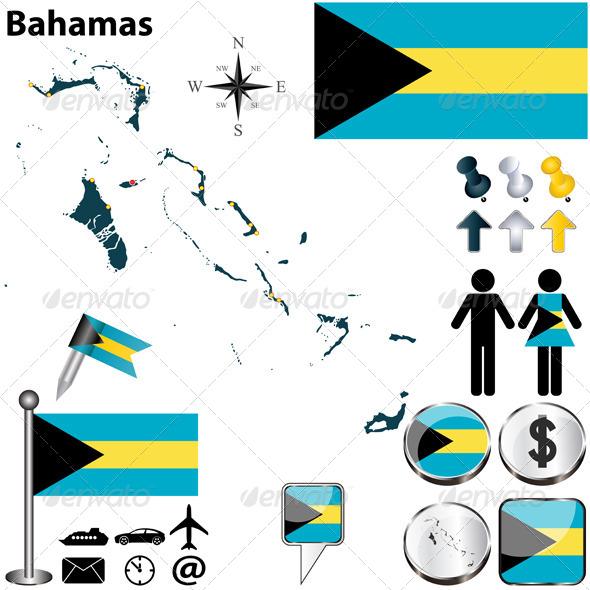 Map of Bahamas - Travel Conceptual