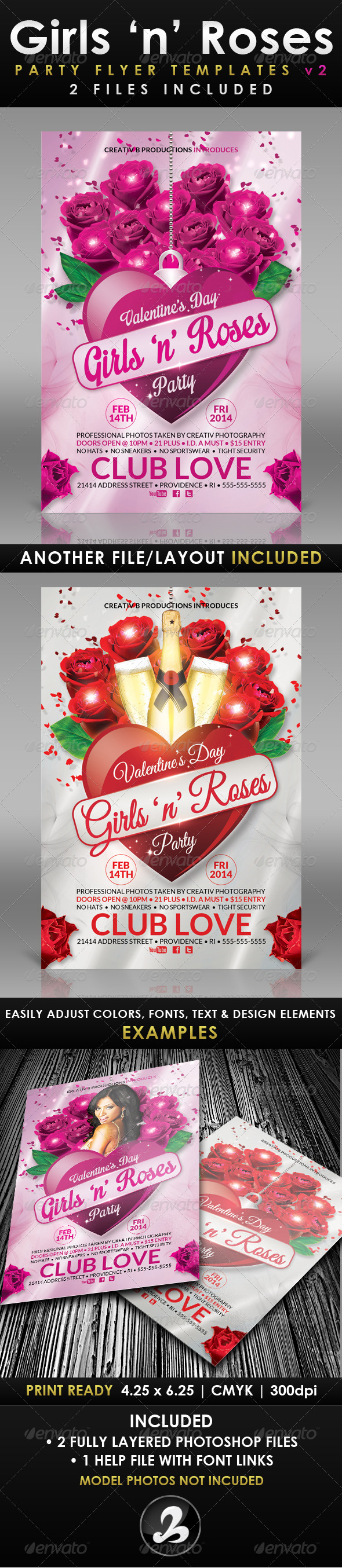 Girls 'n' Roses Valentine's Day Flyer Template 2 - Holidays Events
