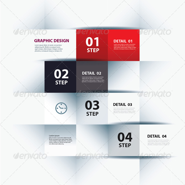 Vector Business Step Paper Lines and Numbers  - Infographics