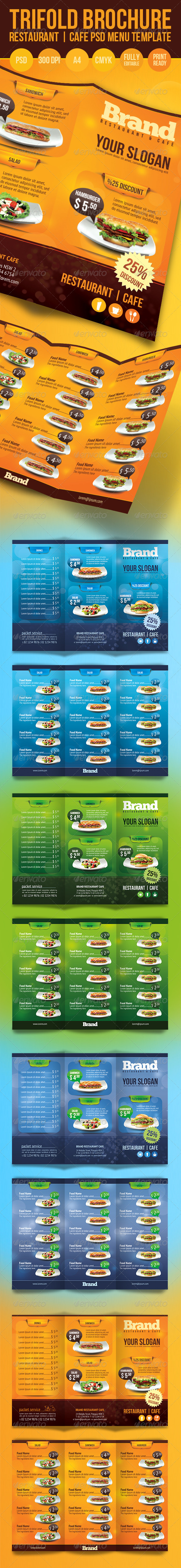 Trifold Brochure Restaurant Cafe Menu PSD Template - Food Menus Print Templates