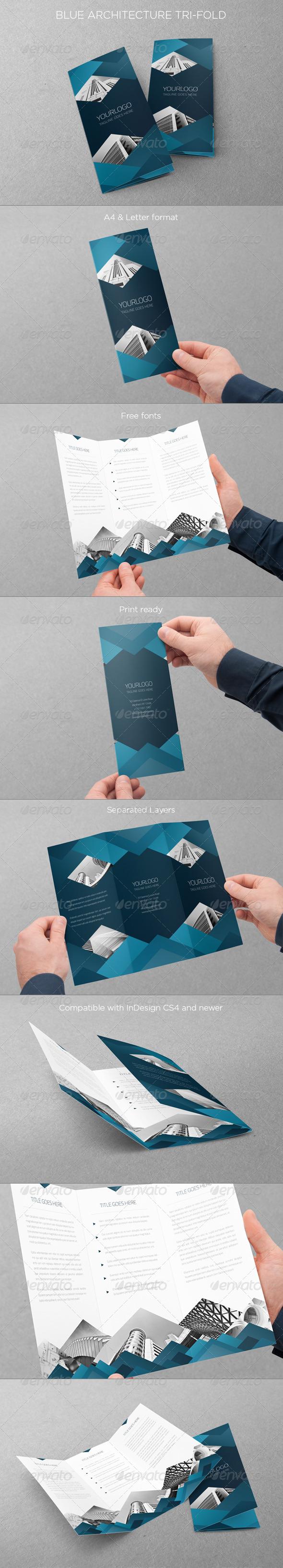 Blue Architecture Trifold - Brochures Print Templates