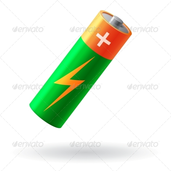 Battery Realistic Isolated Vector Illustration - Man-made Objects Objects