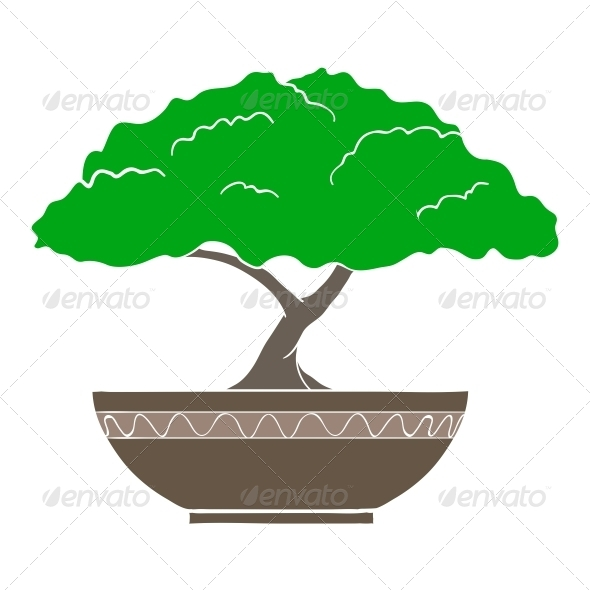 Illustration of Colorful Bonsai Tree - Organic Objects Objects