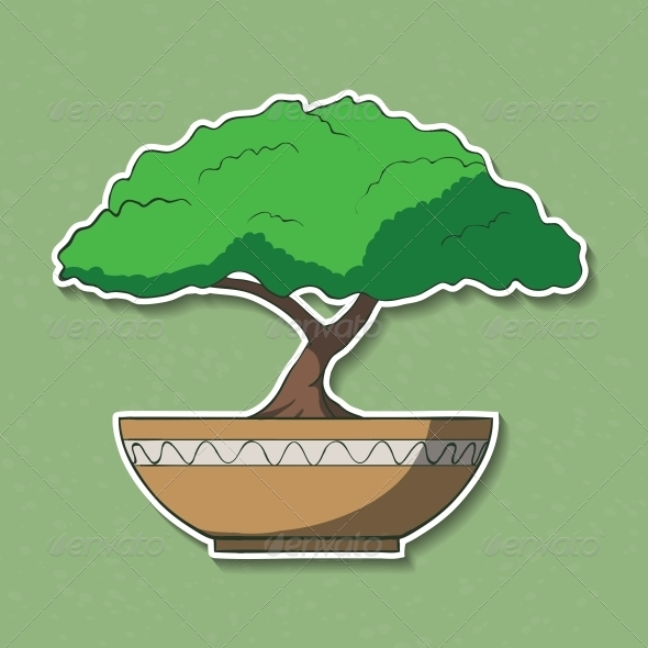 Illustration of Colorful Paper Bonsai Tree - Organic Objects Objects