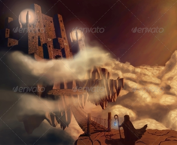 Dark Castle in Clouds Fairytale Fantasy Landscape - Miscellaneous Vectors