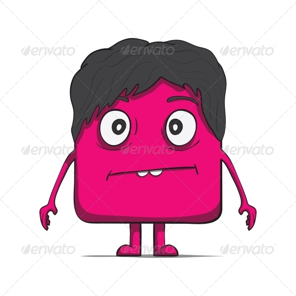 Funny Cube Dude with Hair. Square Character - Miscellaneous Characters