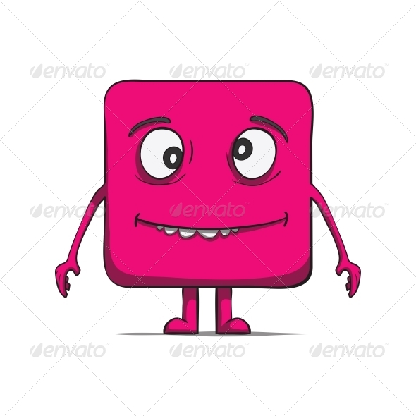Funny Stupid Cube Dude. Square character. - Miscellaneous Characters